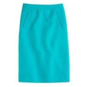 J Crew Teal Sterling skirt in double-serge wool 0
